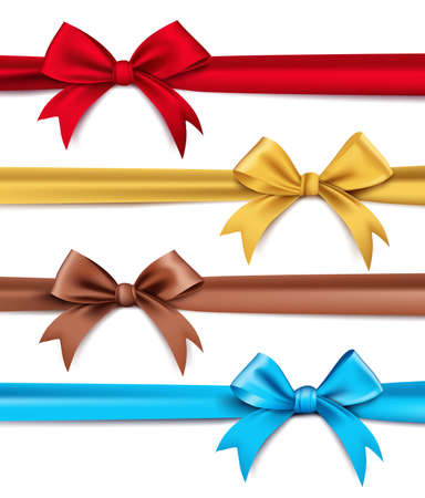 present: Set of Realistic 3D Silk or Satin Ribbons and Bow for Elements and Decorations for Valentines Day and Birthday Celebrations. Isolated Vector Illustration