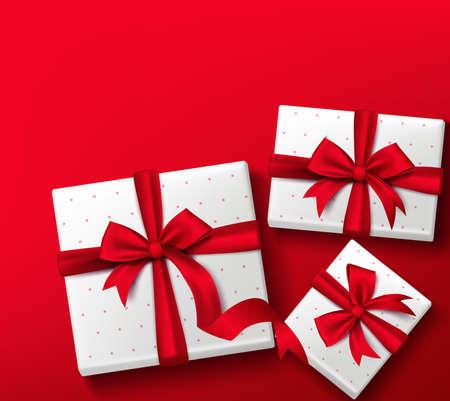 Realista en 3D Caja de regalo colorido rojo con patrones y cinta de seda y arco para la celebración de San Valentín Día de la fiesta de cumpleaños de Navidad y aniversario. Aislado ilustración vectorial Foto de archivo - 41781708