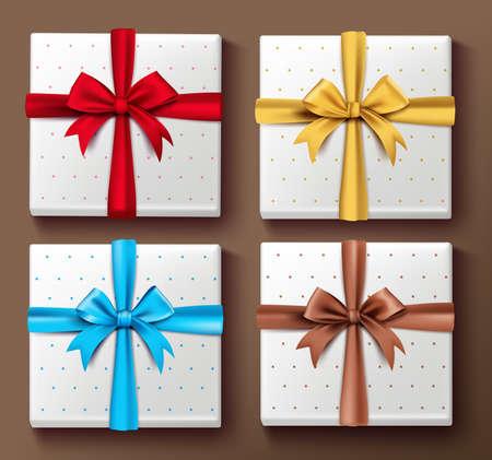 elemento: Set di realistico colorate scatole regalo 3D con i modelli e seta nastro e fiocco elementi e decorazioni per le celebrazioni di San Valentino e compleanno. Isolati Illustrazione Vettoriale
