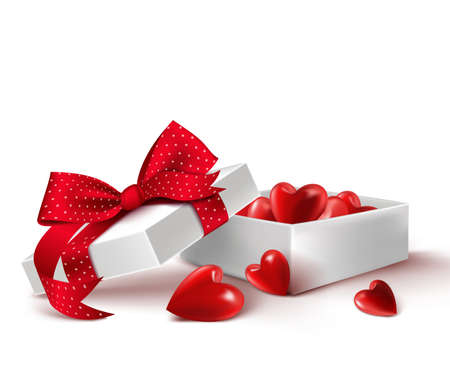offerings: Realistic 3D White Gift Box with Balloon Hearts Inside Wrap in Red Ribbon for Romantic Valentines Day and Offerings. Isolated Vector Illustration