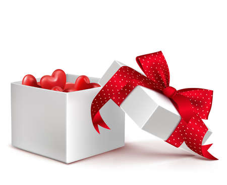 wrap vector: Realistic 3D White Gift Box with Balloon Hearts Inside Wrap in Red Ribbon for Romantic Valentines Day and Offerings. Isolated Vector Illustration