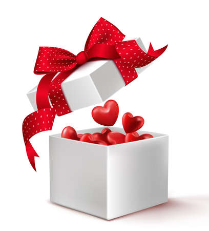 isolated on red: Realistic 3D White Gift Box with Balloon Hearts Inside Wrap in Red Ribbon for Romantic Valentines Day and Offerings. Isolated Vector Illustration