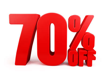 off path: 3D Rendered Red 70 Percent off Word Title for Discount Sale Promotions. Isolated in White Background with Clipping Paths