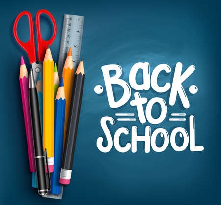 pen: Back to School Title Words with Realistic School Items With Colored Pencils, Scissor, Pen and Ruler in a Blue Texture Background. Vector Illustration