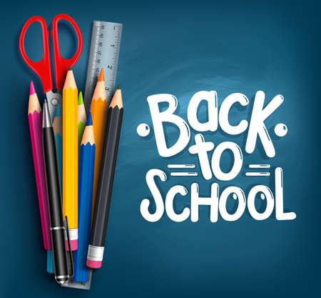 espalda: Volver a la escuela Título Palabras con artículos escolares realistas con lápices de colores, tijera, pluma y regla en un fondo azul de la textura. Ilustración vectorial