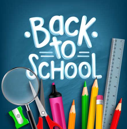 back: Volver a la escuela T�tulo Palabras con art�culos escolares realistas con l�pices de colores, tijera, Lupa y Regla en un fondo azul de la textura. Ilustraci�n vectorial