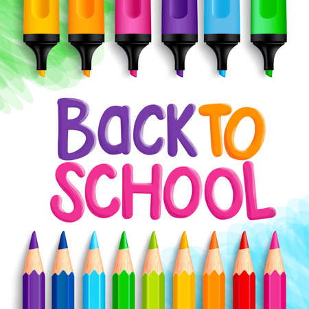 niños con lÁpices: Volver a la escuela Palabras título escrito en un papel de dibujo blanco con conjuntos de crayones de colores, lápices de colores y marcadores. Ilustración vectorial