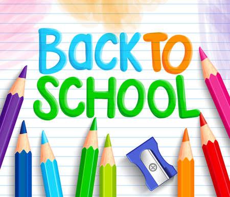 カラフルなクレヨンや色鉛筆と鉛筆削りのセットと白い線紙で書かれた学校タイトルの言葉に戻る。ベクトル図