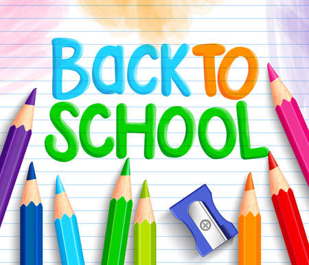 niños con lÁpices: Volver a la escuela Palabras título escrito en un Libro Línea Blanca con conjuntos de crayones de colores o lápices de colores y sacapuntas. Ilustración vectorial Vectores