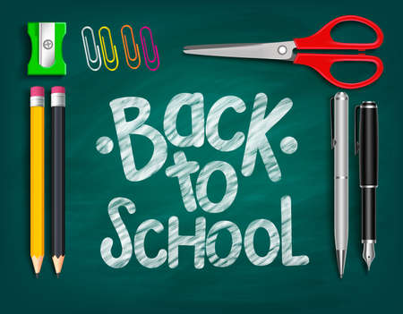 Back to School Title Words Written with Realistic School Items With Pencils, Sharpener, Scissor, Pen and clip paper in a Green Chalkboard. Vector Illustration Ilustração