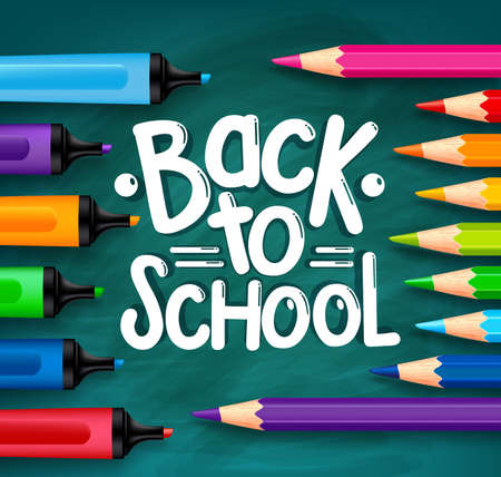 Back to School Title Words Written in a Green Chalkboard with Sets of Colorful Crayons, Colored Pencils and Markers. Vector Illustration Ilustração