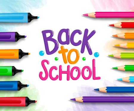pencil: Volver a la escuela Palabras t�tulo escrito en un papel de dibujo blanco con conjuntos de crayones de colores, l�pices de colores y marcadores. Ilustraci�n vectorial