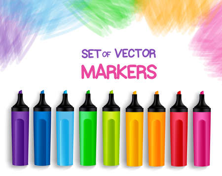Set of Realistic 3D Colorful Full Markers in a Brushed White Background with Texture for Back to School with White Space for Message. Vector Illustration
