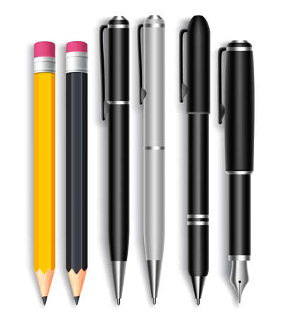 pencil drawing: Set of Realistic 3D Pencils and Elegant Black and Silver Ball Pens Isolated in White Background as School Items. Vector Illustration