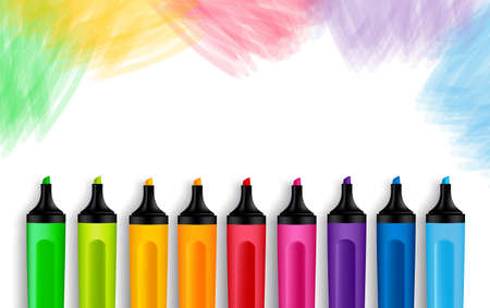 Set of Realistic 3D Colorful Markers in a Brushed White Background with Texture for Back to School with White Space for Message. Vector Illustration