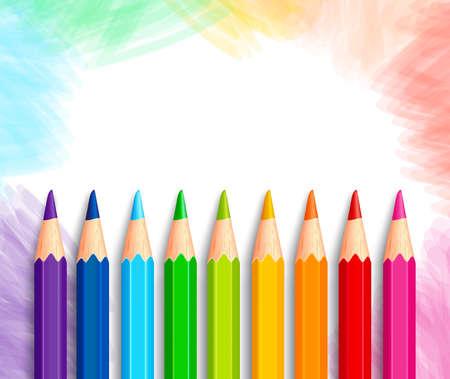 papeleria: Conjunto de lápices de colores coloridos 3D realista o Creyones en fondo blanco pulido con textura de regreso a la escuela con el espacio blanco para el mensaje. Ilustración vectorial