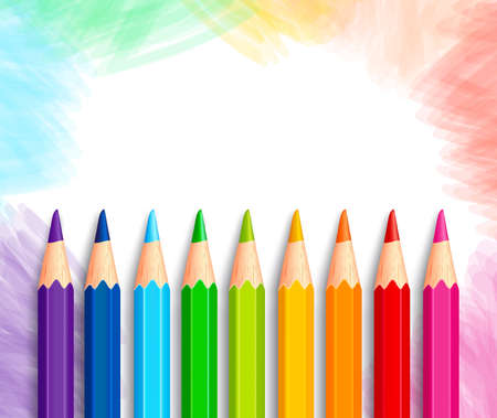 Set van realistische 3D Kleurrijke Kleurpotloden of Kleurpotloden in een geborsteld witte achtergrond met Textuur voor Terug naar school met witte ruimte voor bericht. Vector Illustratie