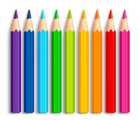 rainbow colors: Set of Realistic 3D Multicolor Colored Pencils or Crayons Isolated in White Background for Back to School Items. Vector Illustration