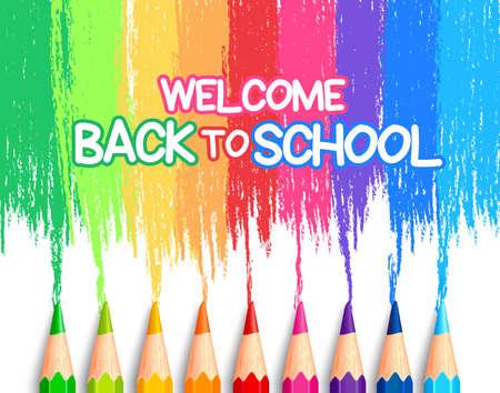 escuelas: Conjunto realista de lápices de colores de colores o crayones con multicolores Brush Strokes De fondo en Volver a la escuela Título. Ilustración vectorial