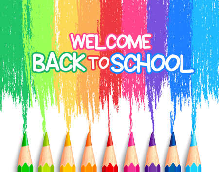 Realistic Set of Colorful Colored Pencils or Crayons with Multicolored Brush Strokes Background in Back to School Title. Vector Illustration Vettoriali