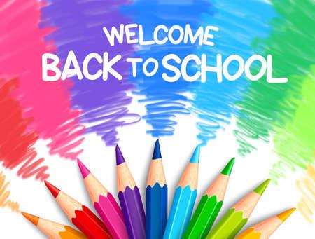 Set realistico di matite colorate colorate o pastelli con Brush Strokes Background in Back to School titolo. Illustrazione vettoriale Vettoriali