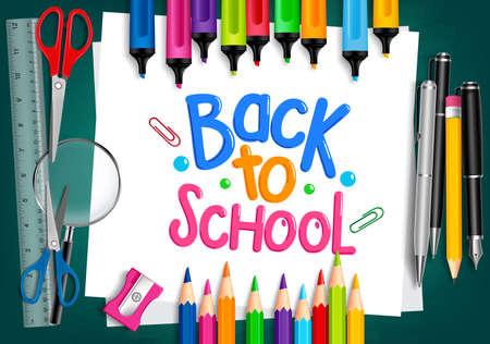 utiles escolares: Realista en 3D Conjunto de artículos escolares con Volver a la escuela Puesto Escrito en el Libro Blanco con el Conjunto de creyones de colores y marcadores. Ilustración vectorial Vectores