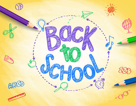 colored background: Back to School Title Written by a Colorful Pencils or Crayons with School Items Drawing in Sketch Textured Yellow Background. Vector Illustration