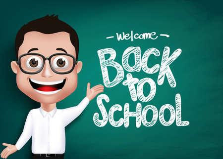 escuela caricatura: 3D realista Genius Estudiante o Profesor Con Anteojos feliz Enseñanza frente a la pizarra con texto Volver a la escuela por escrito. Ilustración vectorial