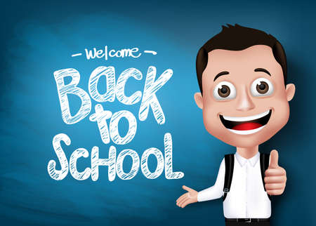 educational problem solving: 3D Realistic Genius Student with Backpack Happy Showing in Front of Blackboard With Back to School Text Written with Hand Gesture. Vector Illustration Illustration