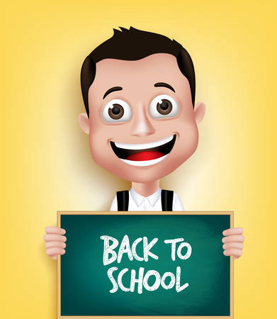 educational problem solving: 3D Realistic School Boy Student Happy Smiling Holding a Blackboard With Back to School Text Written. Vector Illustration