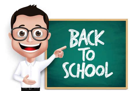 maestra preescolar: 3D empollón Estudiante Genius realista, el profesor o profesor con las lentes feliz Enseñanza delante de la pizarra con el texto Volver a la escuela por escrito. Ilustración vectorial