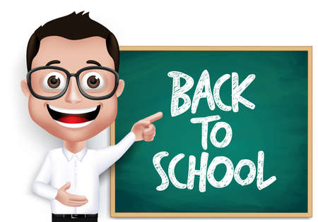 first day of school: 3D Realistic Genius Nerd Student, Professor or Teacher with Eyeglasses Happy Teaching in Front of Blackboard With Back to School Text Written. Vector Illustration