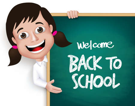 3D Realistic School Girl Student Happy Smiling Holding a Blackboard With Back to School Text Written Isolated in White Background. Vector Illustration Illustration