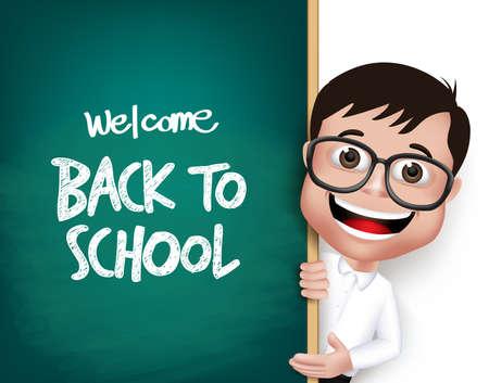 scuola: 3D Nerd realistica scuola Ragazzo Studente con occhiali Felice sorridente con una lavagna con Torna a scuola di testo scritto isolato in sfondo bianco. Vector Illustration
