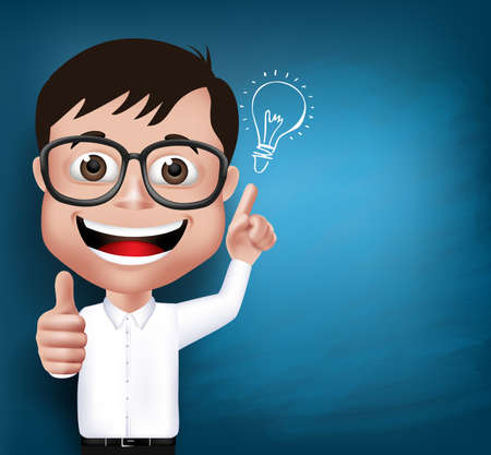 blackboard cartoon: 3D Realistic Nerd School Boy Student or Professor with Eyeglasses Happy Smiling with New Great Ideas in Blue Background Space for Texts. Vector Illustration