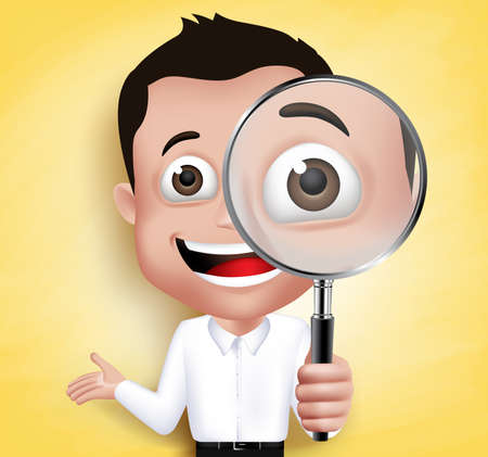 smart boy: 3D Realistic School Boy or Professor Holding Magnifying Glass Looking for Discovery in Yellow Background. Vector Illustration