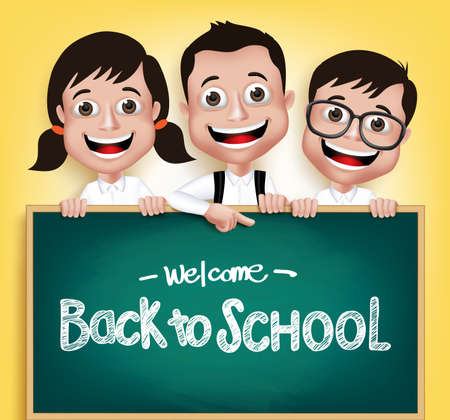 niño con mochila: 3D realista Niños Niños y Niñas Estudiante feliz sonriente que sostiene una pizarra con volver a la escuela de texto escrito en fondo amarillo. Ilustración vectorial Vectores