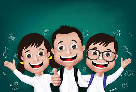 estudiante: 3D realista Niños Niños y Niñas Estudiante feliz que sonríe delante de la pizarra con regreso a la escuela Dibujos Escrito en segundo plano. Ilustración vectorial Vectores