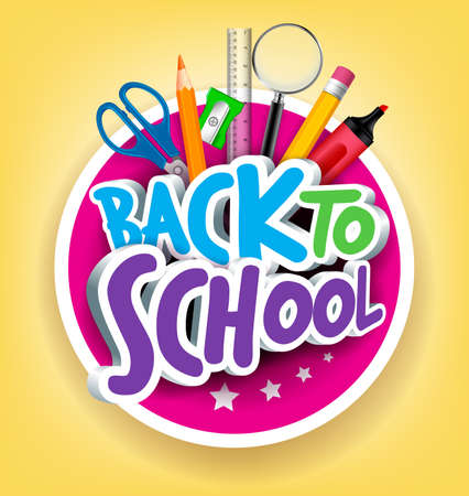 escuelas: Colorido realista 3D Volver a la escuela Puesto Textos con art�culos escolares en un C�rculo de Dise�o Cartel en fondo amarillo.