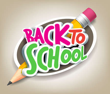 school illustration: Colorful Realistic 3D Back to School Title Texts with Big Pencil in a Circle for Poster Design in Colorful Background.