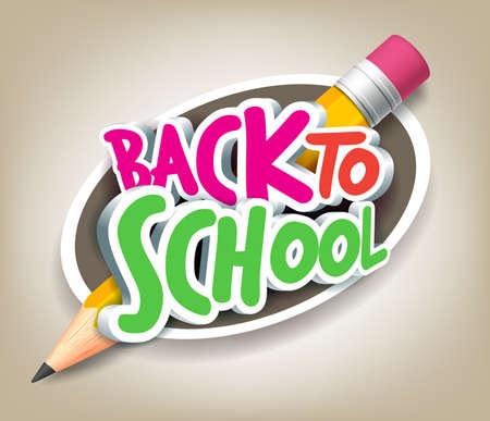 Colorido realista 3D Volver a la escuela Puesto Textos con el lápiz grande en un círculo para el diseño del cartel de fondo colorido. Ilustración de vector