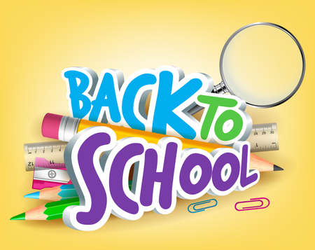 Colorful Realistic 3D Back to School Title Texts with School Items for Poster Design in Yellow Background.  Ilustração