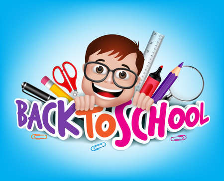 カラフルな現実的な 3 D 戻る学校アイテム笑みを浮かべて幸せオタク天才学生と学校タイトル テキスト。  イラスト・ベクター素材