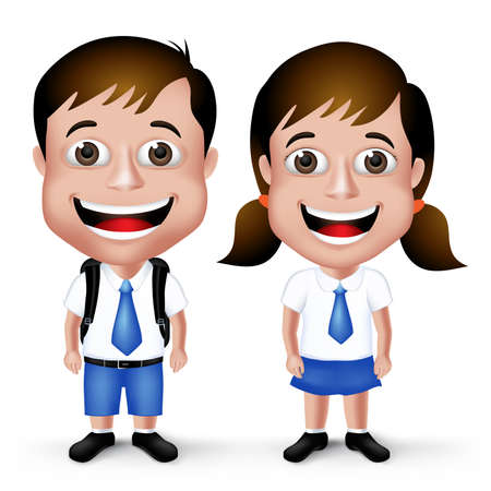 3D Realistic Cute School Boy and Girl Student Characters in School Uniform with Backpack and Happy Smile Isolated in White Background.