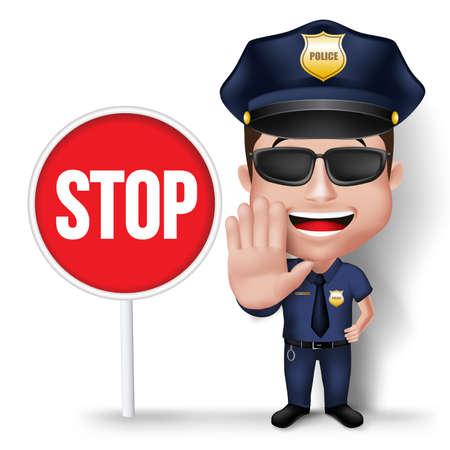 señales de seguridad: 3D realista friendly Policía carácter del hombre de la policía en uniforme con muestra de la parada de la mano de Tráfico Aislado en el fondo blanco.