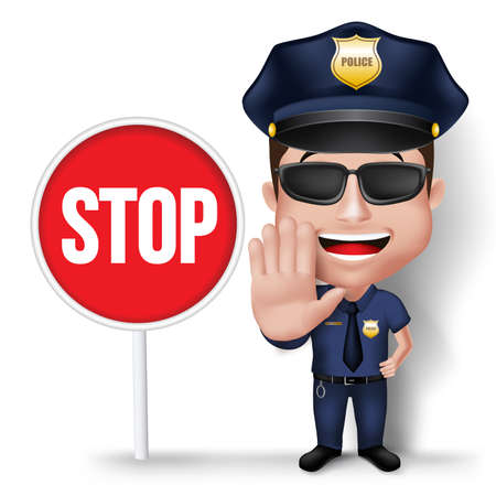 stop: 3D Realistic Friendly Police Man Character Policeman in Uniform with Stop Sign Hand for Traffic Isolated in White Background.