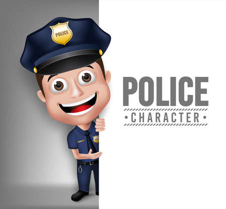 3D Realistic Friendly Police Man Character Policeman in Uniform for Security with White Space for Text Isolated in White Background.  Vectores