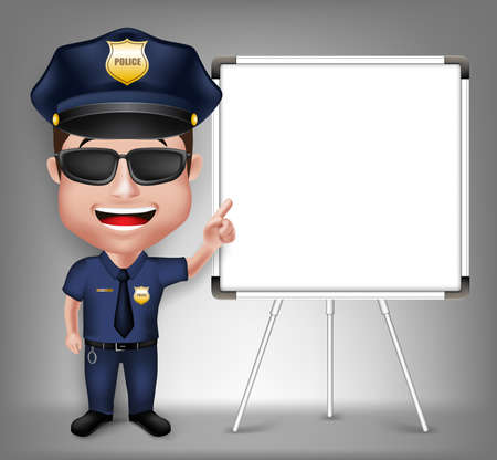 3D Realistic Friendly Police Man Character Policeman Teaching on White Board with Space for Text Isolated in White Background.