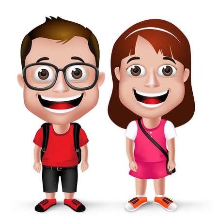 ni�o con mochila: Ni�os realistas 3D School Boy and Girl Wearing Estudiante ocasional con el morral y de gafas aislado en fondo blanco.