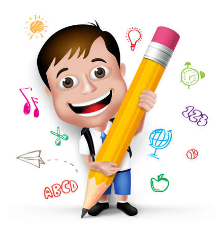 cute cartoon boy: 3D Realistic Smart Kid School Boy Wearing Uniform and Backpack Writing Creative Ideas with Big Pencil Isolated in White Background.